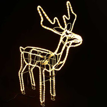 Animated Large LED Warm White 3D Reindeer Motif Christmas Rope Lights