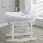 Baby Wicker Bassinet with White Wooden Head to Toe Rocking Stand