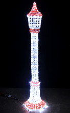 150CM 3D Acrylic Christmas Lamp Post with 208 LED White Lights