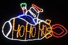 Santa rocket Christmas lights