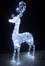 160CM 3D LED White Acrylic Beads Reindeer Christmas Lights