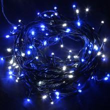 20M 292 LED Blue and White Christmas Fairy Lights with 8 Functions & Memory (Green Cable)