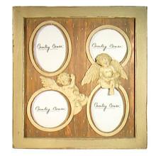 French Shabby Chic Grayish Amber2 Angels 4 Photo Wood Frame