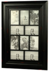 Shabby Chic Wood Multi Photo Frame 10 Open for 4x6 Black