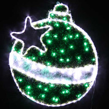 79CM Green LED Christmas Ball with Star Motif Rope Lights