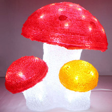 28CM 3D Acrylic Mushroom with 64 White LED Christmas Lights