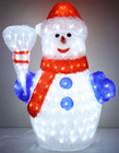 60CM 3D Acrylic Snowman with Red Hat 200 White LED Christmas Lights