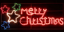 124CM LED Red 'Merry Christmas' and Stars Motif Rope Lights Steady Only