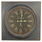 85CM French Country Large Rustic Paris Navy Faced Iron Clock