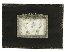 26CM Wide Antique Black Wood Photo frame with Dragonfly