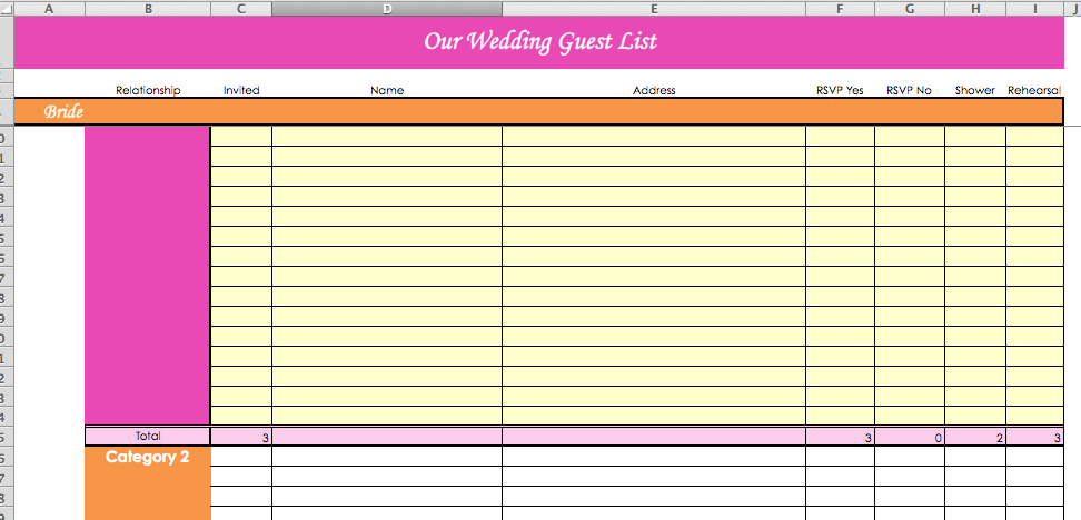 Wedding Guest List Template Excel Gse Bookbinder Co