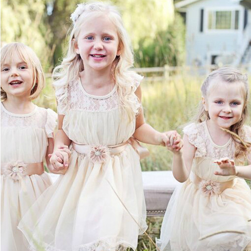 The Charlotte Flower Girl Dress in Vintage Beige