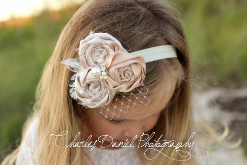 The Amelia Vintage Rosette Flower Girl Headband