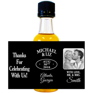 Jack Daniels Mini Bottle Wedding Favors with Photo