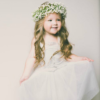 The Evangeline Flower Girl Dress in White