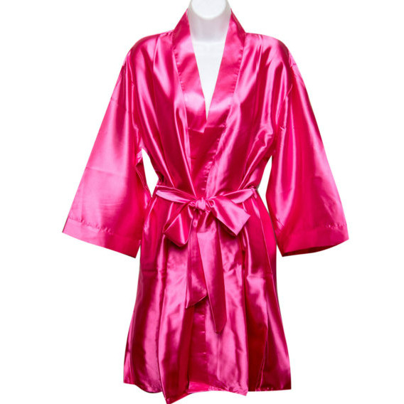 50-70%off perfect quality top design Personalized Silky Satin Kimono Robe - Bridesmaid Robes - Hot Pink Plus Size