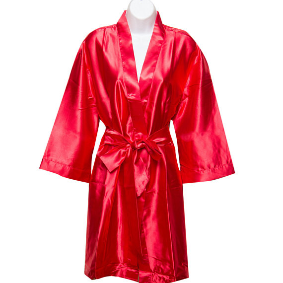 Personalized Silky Satin Kimono Robe - Bridesmaid Robes - Red ... 84d871913
