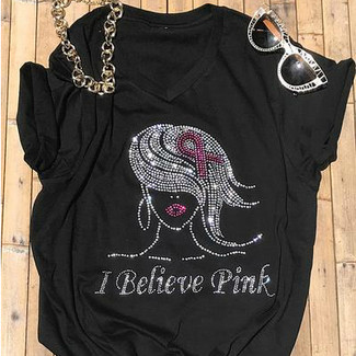 I Believe Pink Women's Cancer Fight Rhinestone T-Shirt
