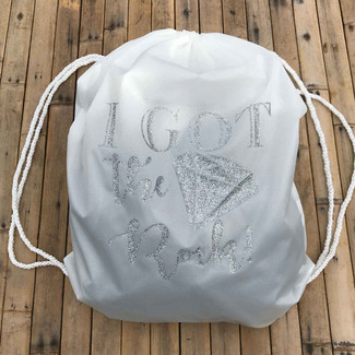 I Got The Rock Bride Drawstring Bag