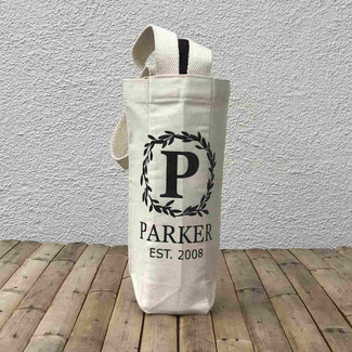 Personalized Name and Date Canvas Wine Tote Bag