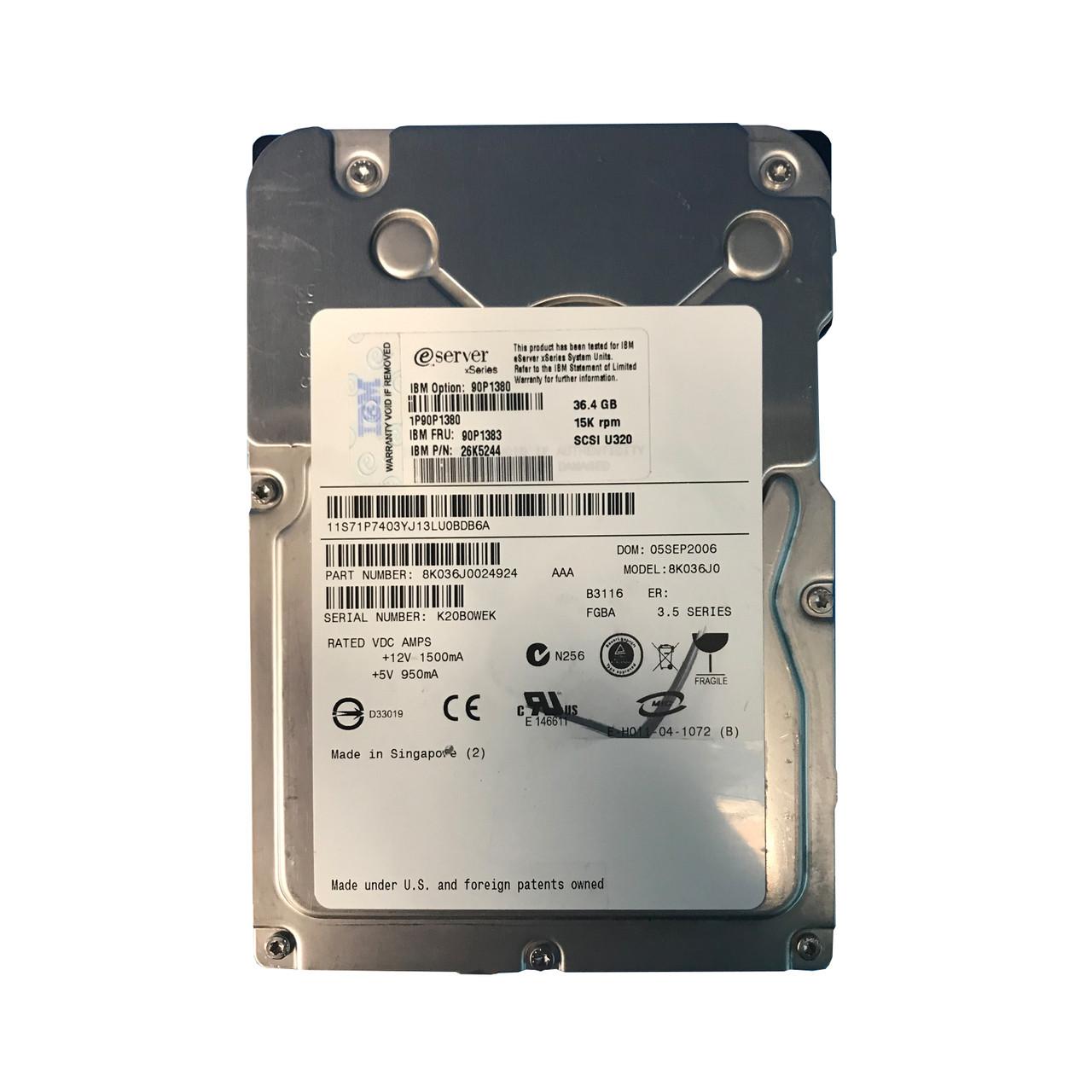 IBM 73GB 10K U320 SCSI 80 Pin HotSwap 90P1305 90P1309