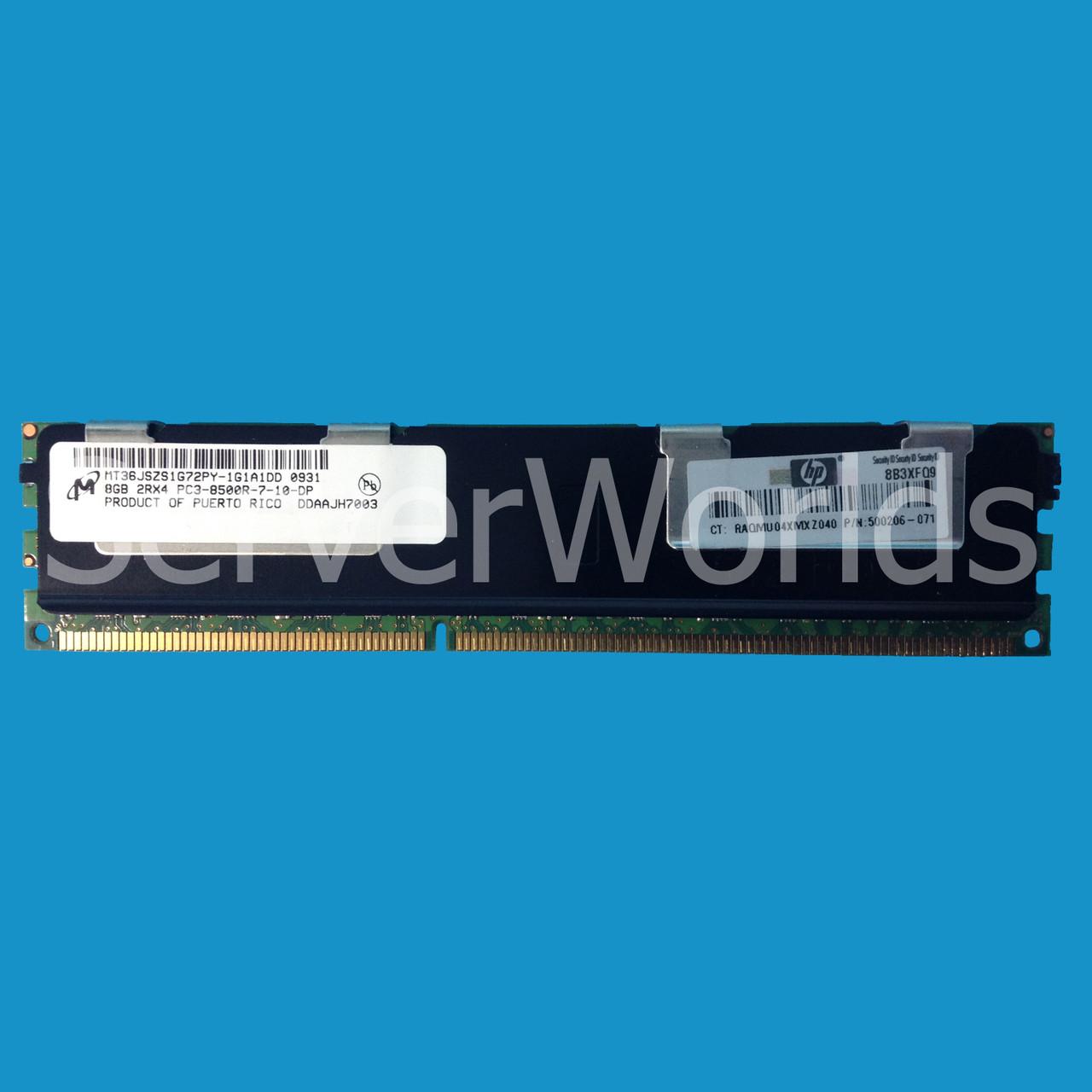 HP 516423-B21 500206-071 519201-001 8gb 2RX4 PC3-8500R-7 memory