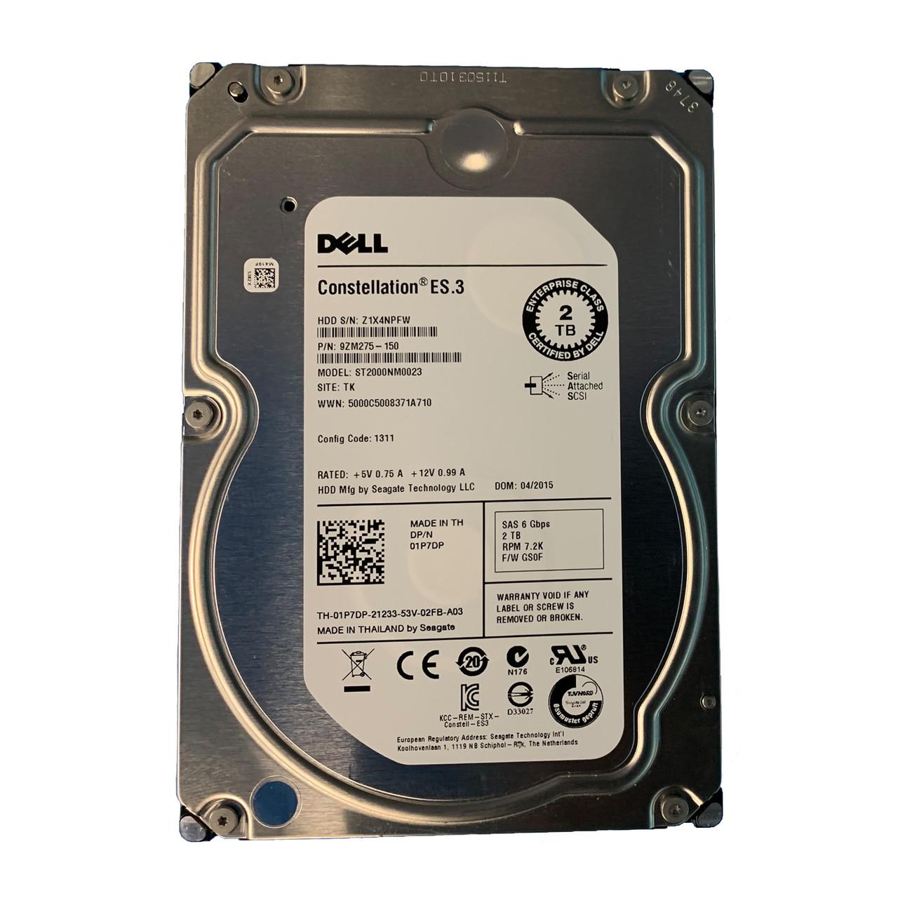 "Dell 1P7DP  Constellation ES.3  2TB 7.2K 3.5/"" SAS  Hard Drive ST2000NM0023"