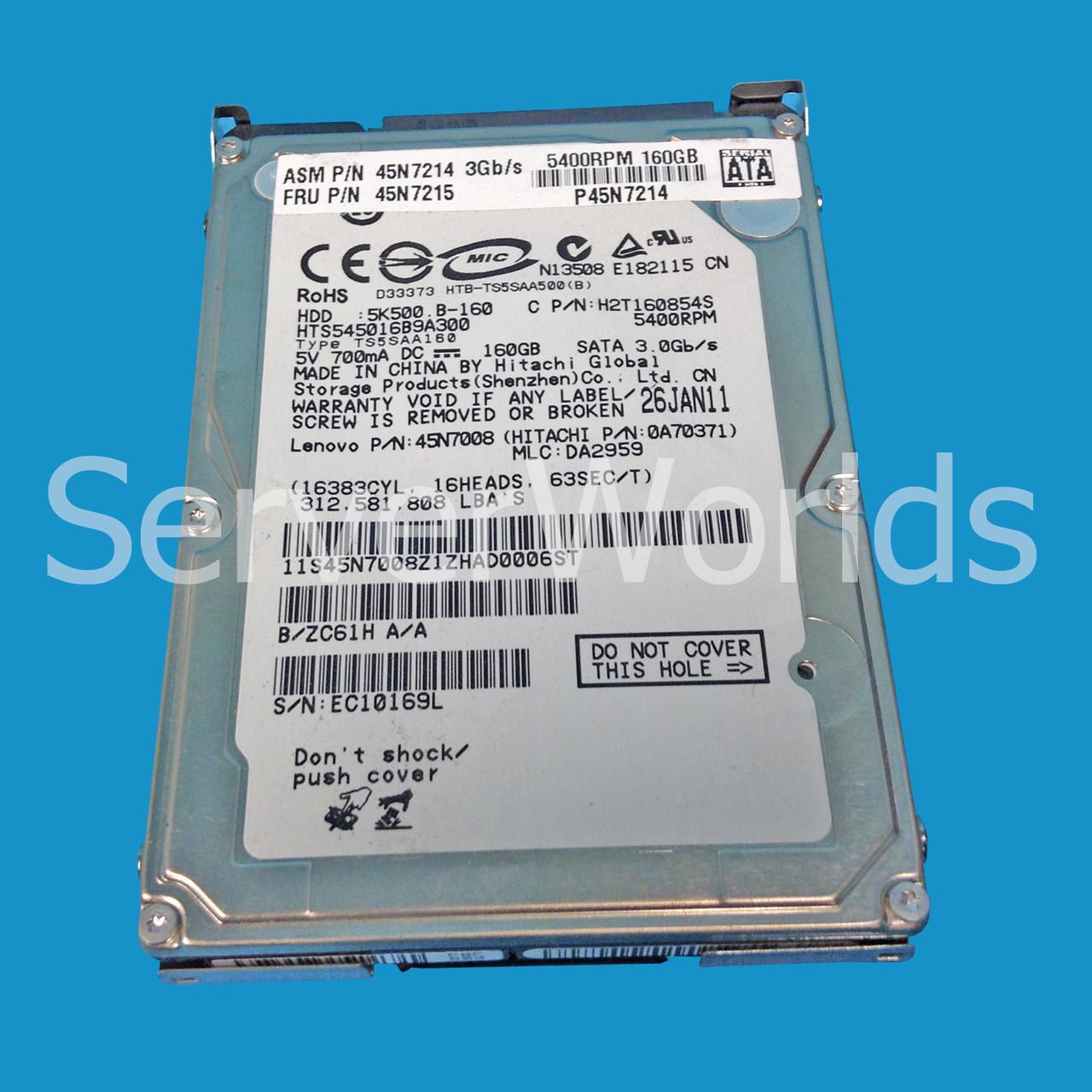 Ibm 45n7214 160gb 25 5400rpm Sata Hard Drive Serverworlds Hdd 160 Gb Like New Image 1