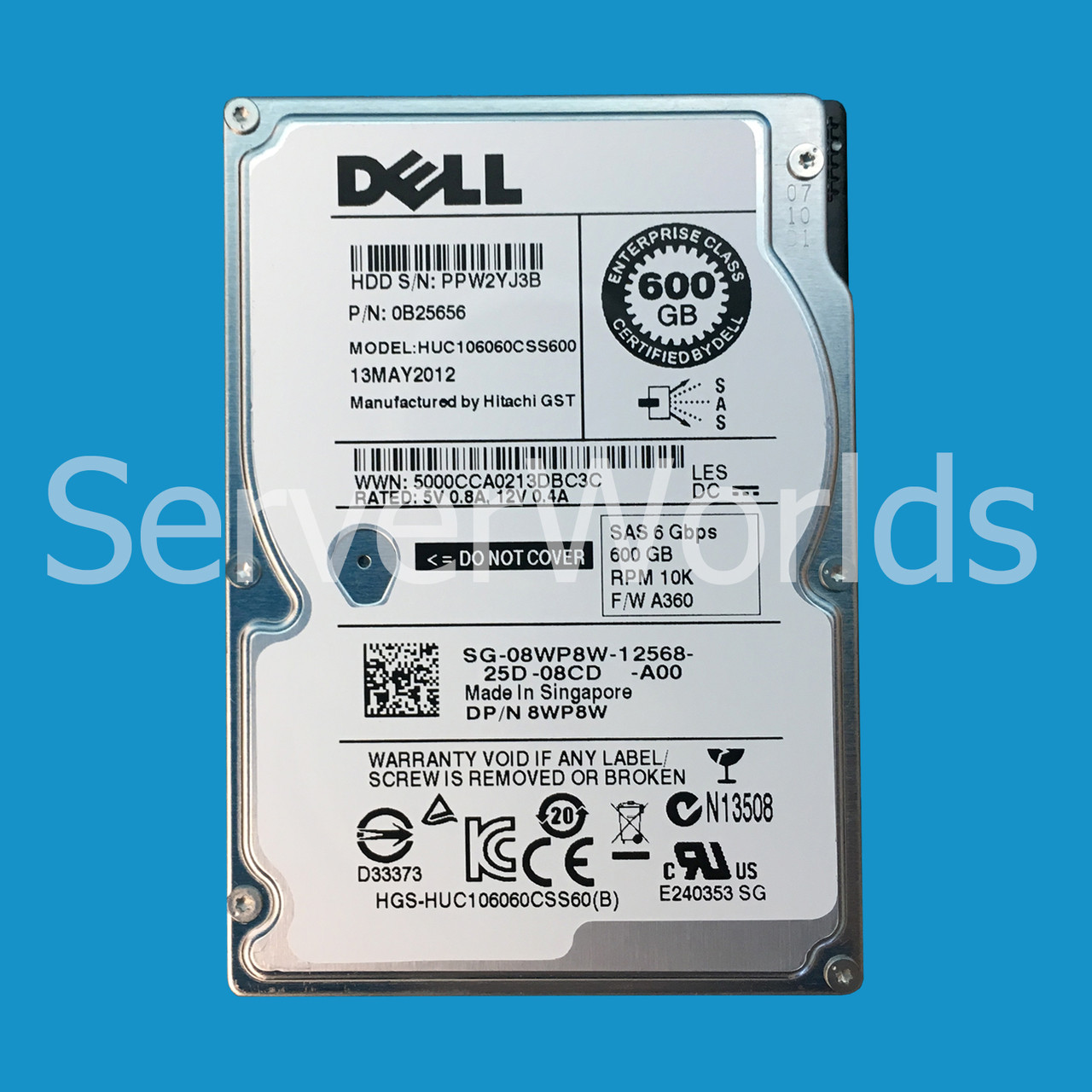 """Dell 600GB 10K 2.5/"""" SAS 6Gbps HDD 8WP8W HUC106060CSS600"""