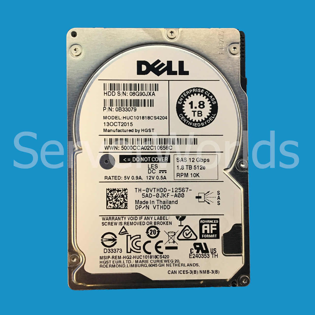 "VTHDD Dell 1.8TB 10K SAS HDD 12Gbps 2.5/"""