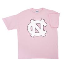 Youth Carolina tee shirt - pink with a big interlock NC