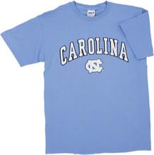 Carolina Blue tee shirt with Carolina in an arc over the interlock NC