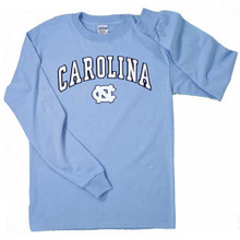 Carolina blue long sleeve tee with a two color Carolina arced above an interlocking NC.