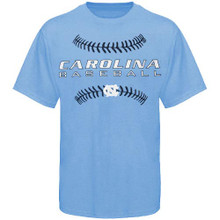 Carolina blue tee with a Carolina Baseball and the outline stitches of a baseball screen print logo.