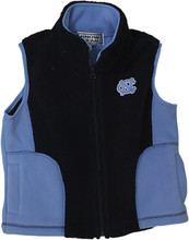 carolina blue and navy toddler sized vest with an interlocking NC on the left chest