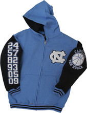 A full zip hood with a Carolina Blue body and navy sleeves.  The decorations are chenille numbers down the right sleeve for each championship.  The left sleeve has a chenille basketball and the left chest is a chenille interlocking NC.