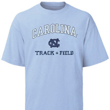 Carolina Blue Faded Track and Field Tee -two color distressed screenprint-Carolina is arched above an NC with Track and Field beneath the NC