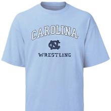 Carolina Blue Vintage Wrestling Tee - arc Carolina over an interlocking NC over Wrestling