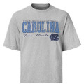 Heathered gray shirt with faded print CAROLINA Tar Heels across the chest