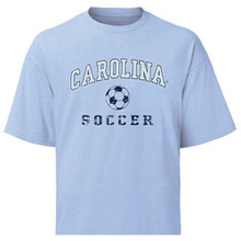 Carolina Blue Youth Faded Soccer Tee - Carolina arched above a soccer ball with soccer beneath it in a distressed fashion
