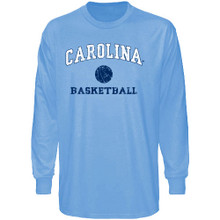 Carolina Blue long sleeve tee shirt with a faded design Carolina in an arc over the lettering Basketball with a small basketball icon.