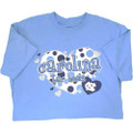 Carolina Blue Youth Hearts Tee- with polka dots, hearts, and the words Carolina Tar Heels.