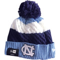 Ladies New Era Fleece Lined Tri Color Cable Knit Toboggan - Navy Carolina Blue White