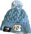 Ladies New Era Fleece Lined Cozy Cable Knit Toboggan - Carolina Blue