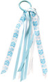 Divine Creations Fan Tails-Blue and White Pony Tail Holder with Streamers-Repeating NC-Standing Ram-Tar Heel Foot