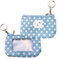 Aminco Carolina Blue Polka Dot ID Key Chain-Change Purse