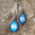FTH Blue Oval NC Dangle Earrings