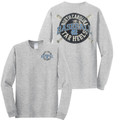 Carolina Tar Heels Crossed Bats Real Ball Front and Back LONG SLEEVE Tee - Charcoal Heather
