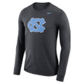 Nike Carolina Long Sleeve Logo Tee - Charcoal Heather with NC