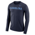 Carolina Nike Long Sleeve Wordmark T - NAVY with CAROLINA